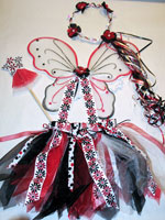 Black and Red Flowers and Polka Dots Fairy