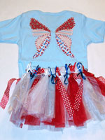 Red White And Blue Fabric Butterfly v2