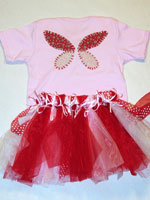 Pink and Red Fabric Butterfly