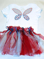 Red White And Blue Fabric Butterfly v3