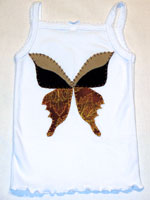 Brown and Tan with a Leaf Pattern Fabric Butterfly