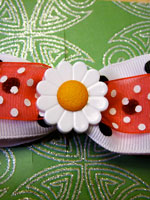 Large Daisy Bow with Doubled Ribbon