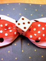 Large Dice Bow with Doubled Ribbon